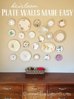 DIY: Heirloom Plate Wall Made Easy - how to plan out a design before you put holes in the wall!