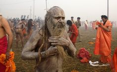 Ashes are rubbed into the body after a dip (Reuters/)