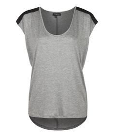 Light Gray & Black Cap-Sleeve Top