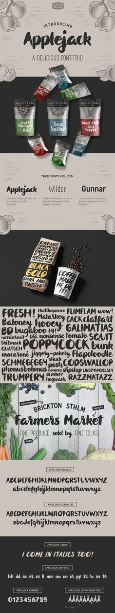 Applejack - A delicious font trio by Great Scott on @creativemarket
