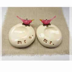 Love birds: Couples wedding ring holders Mr and Mrs, sweet!