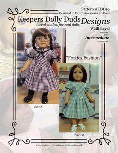 PDF Pattern #KDD10 Forties Fashion with two views.  ORIGINAL KeepersDollyDuds DESIGNS!   KeepersDollyDuds has partnered with well known pattern