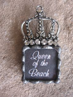 Rhinestone Queen of the Beach Crown Soldered pendant by Nanettemc, $15.00