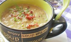 cream of lentils Clean Recipes, Lentils, Cheeseburger Chowder, Salsa, Bacon, Soup, Tableware, Ethnic Recipes, Dukan Diet