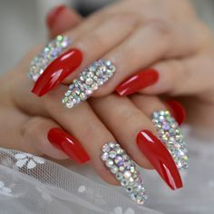 Red Sparkle Nails, Red And Silver Nails, Bling Acrylic Nails, Best Acrylic Nails, Rhinestone Nails, Bling Nails, Glue On Nails, Red Nails, Swag Nails