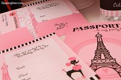 A Sweet Soiree with Romantic Touches: A Parisian-themed Pre-Teen Party. Features an Eiffel Tower Centerpiece, Passport Invitations, and a French themed Cake Diy Birthday Bunting, Birthday Party For Teens, Teen Birthday, Paris Birthday, 11th Birthday, Paris Party Decorations, French Themed Parties, Paris Invitations, Paris Theme