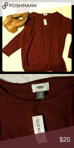 Old Navy burgundy lightweight sweater Beautiful burgundy color, Dolman knit pullover sweater. Brand new!! Old Navy Tops