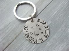 Sterling Silver Latitude Longitude Keychain by ESDesigns14 on Etsy