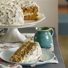 Carrot Cake with Pecan Frosting Recipe -My husband constantly requests this homey, old-fashioned version of carrot cake. The frosting is still tasty even without the pecans. —Adrian Badon, Denham Springs, Louisiana