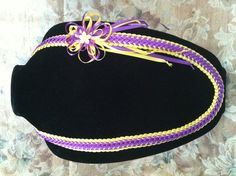 Purple and Gold Double woven ribbon lei. See more at  https://www.facebook.com/pages/Hawaiian-Ribbon-Leis/1401807930101453?ref=hl