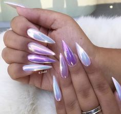 Pastel lilac and opal holographic chrome stiletto nails