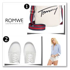 """""""ROMWE"""" by blackwhite-2 ❤ liked on Polyvore featuring Tommy Hilfiger and Vans"""