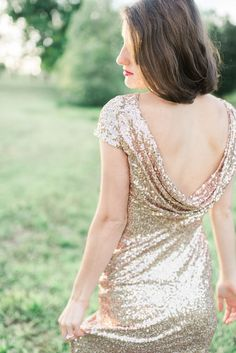 Amazing Badgley Mischka gold dress used for this engagement photo shoot! | Photograph by Elizabeth Fogarty Photography