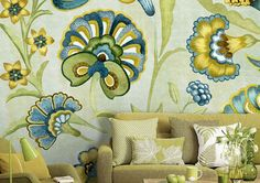 55 x 35 Green Yellow Floral Wallpaper Wall Decal Art by DreamyWall