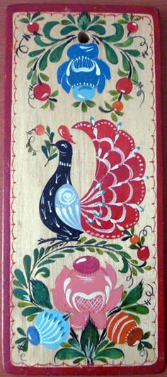 Folk Gorodets painting from Russia. A floral pattern with a bird. #art #folk…