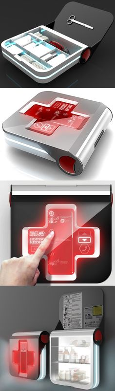 ♂ first aid 2.0 - kit with LED red cross panel with first aid instructions and GPS tracking system.