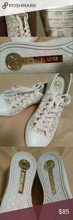 NWOB...CLASSY MK SNEAKERS Printed Textured MK Sneakers...Flashy Golden Plate w/Mk Imprint on Bottom Michael Kors Shoes Sneakers