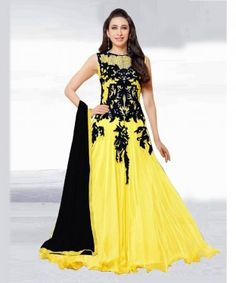Charming Yellow Semi Stitched Soft Net Salwar Suit
