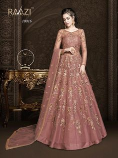 RAMA FASHIONS RAAZI AROOS 10016 COLORS  NET ANARKALI HEAVY EMBROIDERY PARTY WEAR FLOOR LENGTH BRIDAL WEDDING ATTRACTIVE BRANDED DRESS WITH NET DUPATTA SINGLES