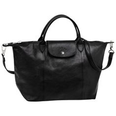 89c0e22431552 Longchamp Le Pliage Cuir 1515 Womens Tote Leather Crossbody Handbag Medium  Black  fashion  clothing