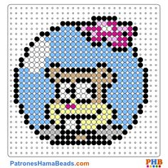 Sandy face Perler Bead Pattern and Designs Perler Bead Designs, Easy Perler Bead Patterns, Melty Bead Patterns, Perler Bead Templates, Hama Beads Design, Beading Patterns Free, Perler Bead Art, Perler Beads, Cross Stitch Patterns