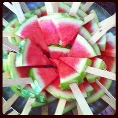 Watermelon on a stick! Perfect kid food! Freeze it for an even more refreshing treat!