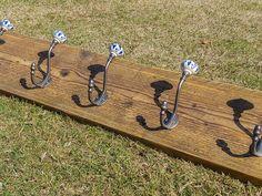 Industrial Style Reclaimed Scaffold Board Coat Hook / Rack with Ceramic Pumpkin Hooks Cast Iron, It Cast, Scaffold Boards, Hook Rack, Reclaimed Timber, Scaffolding, Coat Hooks, Furniture Making, Steel Frame