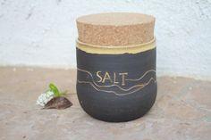 Black Clay Salt Canister handmade ceramic by ManuelaMarinoCeramic