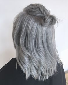 Grey hair, Silver hair, bun  Follow us on instagram  www.sjiekkappers.nl