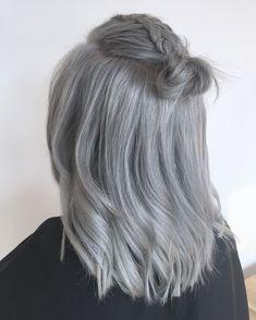 Grey hair, Silver hair, bun