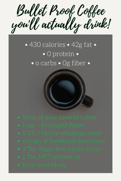 A bullet proof coffee recipe perfect for the keto newbies or even those who have been living the ketogenic lifestyle for years. Quality ingredients with perfect amounts make this the easiest, most beneficial, fat filled coffee to get you through your day and meet your fat goals! Find more: entirelyerika.com