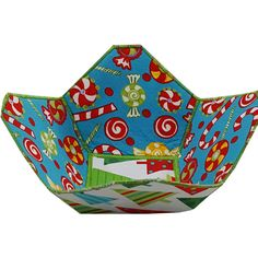 Christmas Reversible Fabric Bowl in Tree and by Sieberdesigns