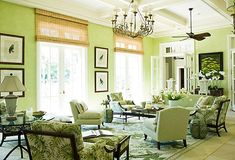 Lime Green    When planning a green room, we prefer to take inspiration from the inside of the lime rather than its darker skin. The lighter shade brightens and calms at the same time. It pairs nicely with a slew of neutrals including white, black, brown, and beige.         Tip: To keep a color like this from becoming too intense, use it in a room that gets a fair amount of natural light.