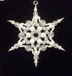 Snowflake Ornament - White Silver Grey Pearl and Clear - Beaded Ornaments - Snowflakes - Christmas - Winter