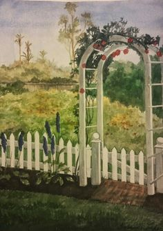 watercolor of my parents yard in Carlsbad, Calif By Susan Grove Arch, Parents, Outdoor Structures, Watercolor, Fine Art, Garden, Painting, Dads, Pen And Wash