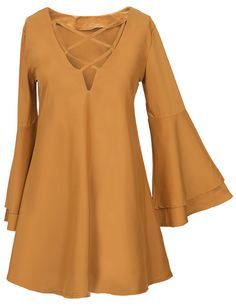 Oh, I like the short dress with romantic flare sleeve and chic lace-up design. So cute!! You can not miss it at Cupshe.com