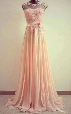 This pink lace gown makes me smile