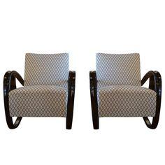 20th Century Beech bent wood Pair of Lounge Chairs, Jindrich Halabala 1
