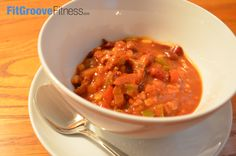Skinny-Mini Turkey Chili | FitGroove Fitness. This recipe is an absolute super food combining taste while being naturally lean! Combining lean protein through delicious lean ground turkey, as well as fiber through veggies and kidney beans, it's an awesome Game Day Chili!