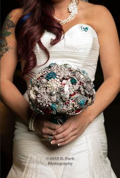 Love my brooch bouquet that I made with pins from family, friends, and antique shopping!!! <3 photo by D Park Photography