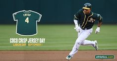Swipe a Coco Crisp Replica Jersey on Labor Day - Monday, September 1. 15,000 fans will receive the jersey upon entry to the ballpark. http://mlb.mlb.com/ticketing/singlegame.jsp?c_id=oak&game=382593
