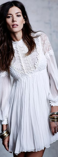 Bohemian Style| BoHo| White Dress-Free People Lou Lou Textured Babydoll