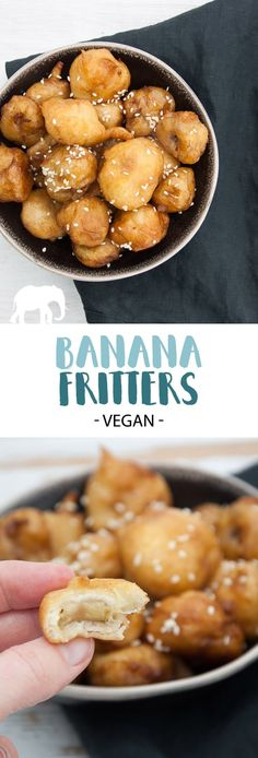 Cajun Delicacies Is A Lot More Than Just Yet Another Food Vegan Banana Fritters Coated In Maple Syrup And Sprinkled With Sesame Seeds Via Elephantasticv Healthy Vegan Snacks, Vegan Treats, Healthy Dessert Recipes, Vegan Desserts, Vegetarian Recipes, Cooking Recipes, Banana Recipes Vegan, Vegan Banana Cookies, Banana Dessert Recipes