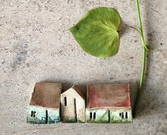 miniature ceramic housesclay housessculpturehandmade