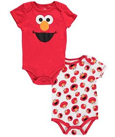 """Sesame Street Baby Boys' """"Elmo Smiles"""" 2-Pack Bodysuits http://www.beststreetstyle.com/sesame-street-baby-boys-elmo-smiles-2-pack-bodysuits/ #fashion   Sesame Street Baby Boys' """"Elmo Smiles"""" 2-Pack Bodysuits Soft jersey construction and colorful graphics make these Sesame Street bodysuits a must! Easy-change snaps at bottom, tagless lap collar. 60% Cotton, 40% Polyester Machine Wash Cold Imported"""