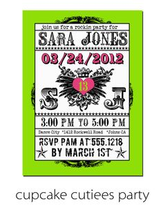 Rock Star ROYALTY   Green Pink Digital Custom Invitation Card Printable u print. $12.00, via Etsy.