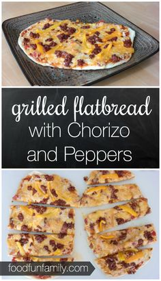 Grilled Flatbread with chorizo sausage and peppers - some of the best (and easiest) personal pizza ever! The chorizo makes it taste SO good! I love grilling our pizza dough.