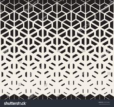 Vector Seamless Black and White Hexagon Triangle Split Lines Halftone Gradient Pattern Abstract Background