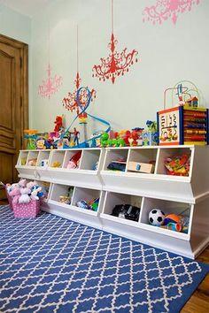 Divertida idea para guarzar los juguetes de los niños. #organizar #juguetes #toysforkids