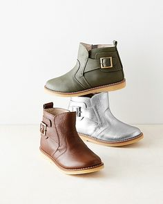 Elephantito Buckled Leather Ankle Boots, Sizes 09-4